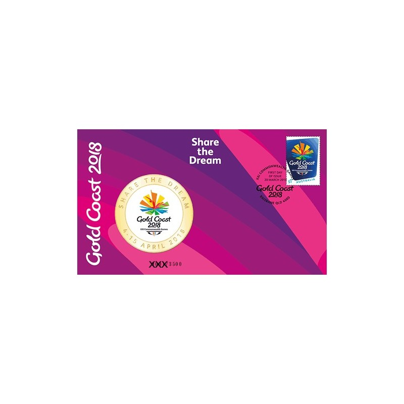 2018  XXI Commonwealth Games Medallion & Stamp Cover PNC