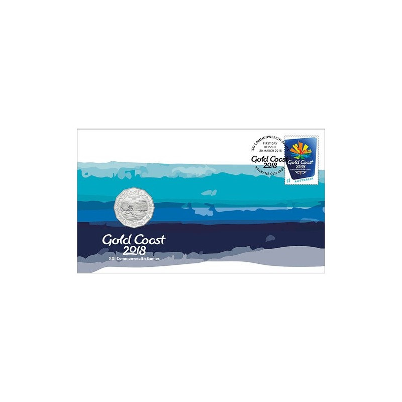 2018 50c XXI Commonwealth Games Coin & Stamp Cover PNC