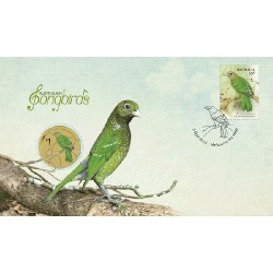 2013 $1 Australian Songbirds The Green Catbird Coin & Stamp Cover PNC