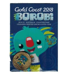 2018 $1 XXI Commonwealth Games - Borobi Coloured Frosted Australia Counterstamp Unc Coin