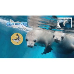 2018 $1 AAT Crabeater Seal Coin & Stamp Cover PNC