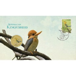 2013 $1 Australian Yellow-Billed Kingfisher Coin & Stamp Cover PNC
