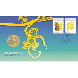 2016 $1 Year of the Monkey Coin & Stamp Cover PNC