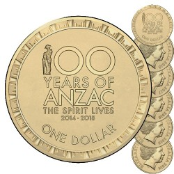 2014 - 2018 $1 100 Years of ANZAC The Spirit Lives Mint Roll Set (5)