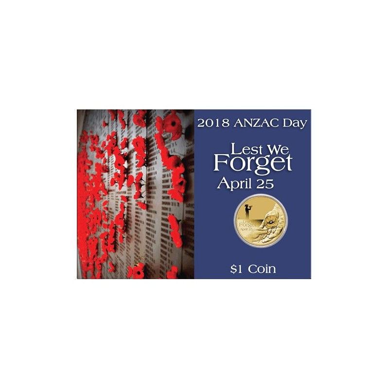 2018 $1 ANZAC Day Lest We Forget Uncirculated Coin in Card
