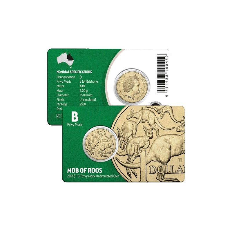 2018 $1 Brisbane ANDA Show Mob of Roos B Privy Mark Unc Coin in Card