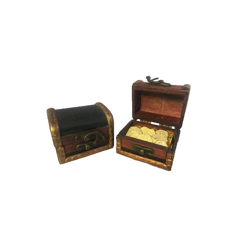 Pirate Gold with Treasure Chest Metal Doubloon Pieces of Eight 20pcs - Coin  City