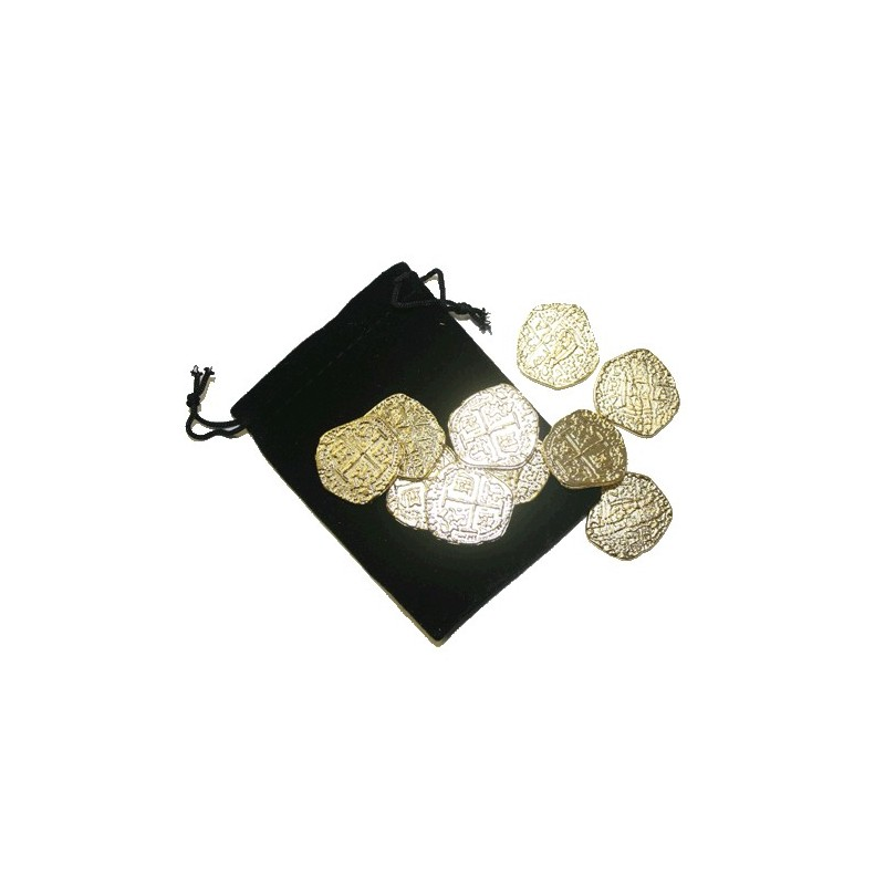 Pirate Gold with Black Velvet Bag Metal Doubloon Pieces of Eight 10pcs