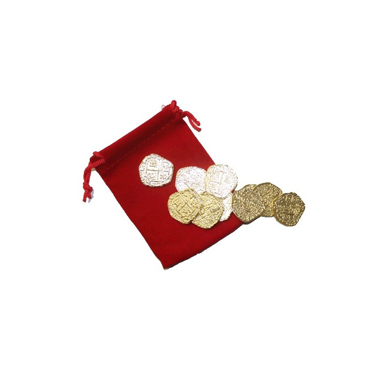 Pirate Gold with Red Velvet Bag Metal Doubloon Pieces of Eight 10pcs - Coin  City