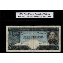 1954 Five Pound R49 Coombs / Wilson General Prefix VF Paper Australian Banknote