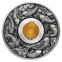 2018 $1 Good Luck Rotating Charm 1oz Silver Antiqued Coin