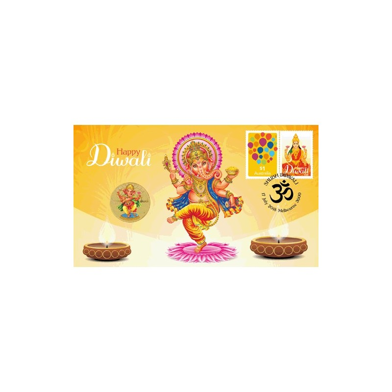 2018 $1 Diwali Coin & Stamp Cover PNC