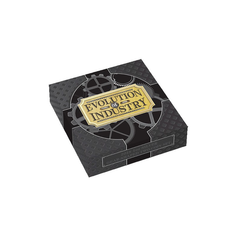 2018 $1 Evolution of Industry 1oz Silver Gear-Shaped Two-Coin Set