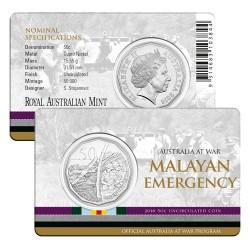 2016 50c Australia At War Series - Malayan Emergency Uncirculated Coin in Card