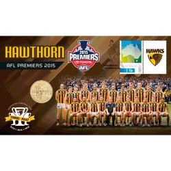 2015 $1 AFL Hawthorn Hawks Premiers Coin & Stamp Cover PNC