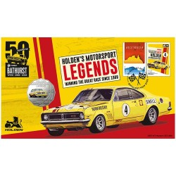 2018 50c 1970 Holden HT Monaro GTS 350 Coin & Stamp Cover PNC