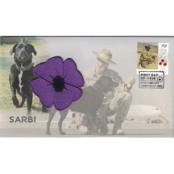 2015 Sarbi Animals in War Prestige FDC with Purple Cloth Poppy