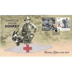 2015 Simpson & his Donkey - Wartime Letter 1914-1918 Prestige FDC