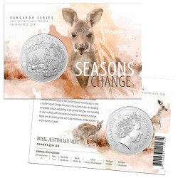 2019 $1 Kangaroo Series - Seasons Change Autumn 1oz Silver Frosted Coin in Card