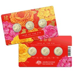 2019 $1 Lunar Year of the Pig Three Coin Uncirculated Set