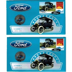 2017 50c Ford 1913 Model T Consecutive Pair Limited Edition Prestige Coin & Stamp Cover PNC