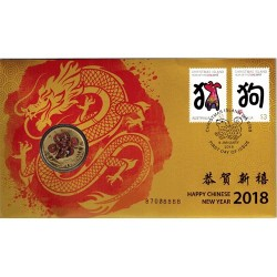 2018 $1 Happy Chinese New Year Over Print Error Coin & Stamp Cover PNC