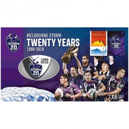 2018 NRL Melbourne Storm 20 Years Limited Edition Medallion & Stamp Cover PNC