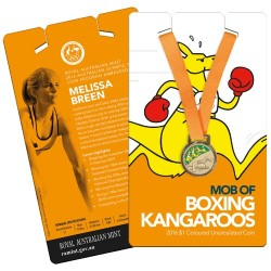 2016 $1 Mob of Boxing Kangaroos - Athletics Coloured Unc Coin in Card