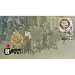 2018 $1 End of World War I 100th Anniversary Coin & Stamp Cover PNC