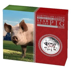 2019 $1 Australian Lunar Year of the Pig 1oz Silver Proof Coloured Edition Coin