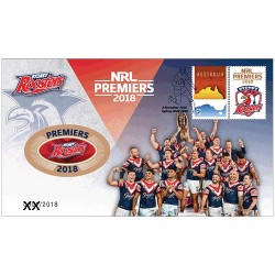 2018 NRL Telstra Premiership Grand Final Premiers Sydney Roosters Medallion & Stamp Cover PNC
