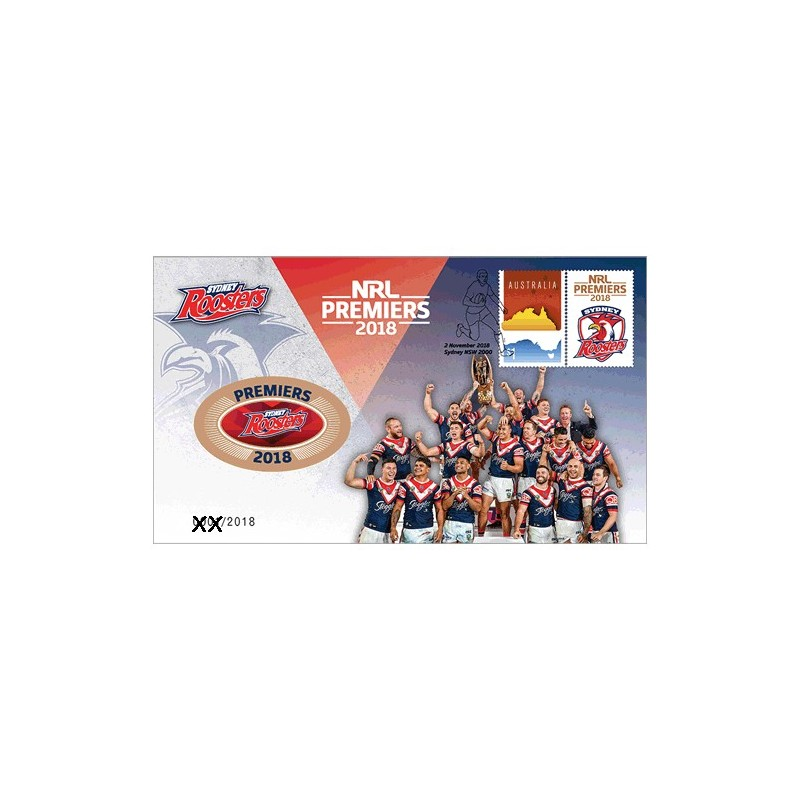 2018 NRL Premiers Sydney Roosters Medallion Cover PNC