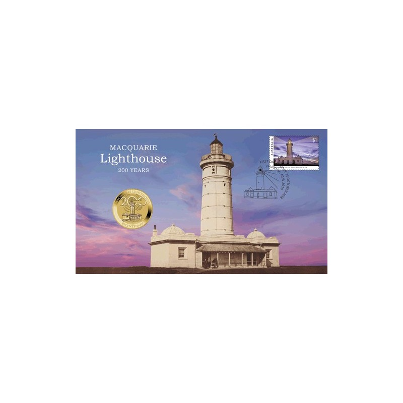 2018 $1 Macquarie Lighthouse Bicentenary Coin & Stamp Cover PNC