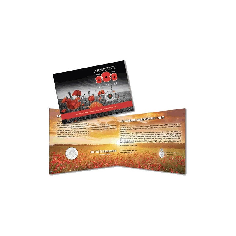 2018 50c New Zealand Armistice Day Red Poppy Commemorative Coin Pack