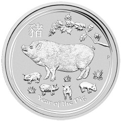 2019 $1 Australian Lunar Year of the Pig 1oz Silver Bullion Coin in Capsule