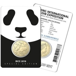 2018 $1 Beijing International Coin Expo Mob of Roos Panda Privymark Al/Br Coin in Card