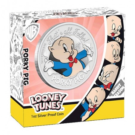 2019 $1 Lunar Porky Pig 1oz Silver Proof Coin