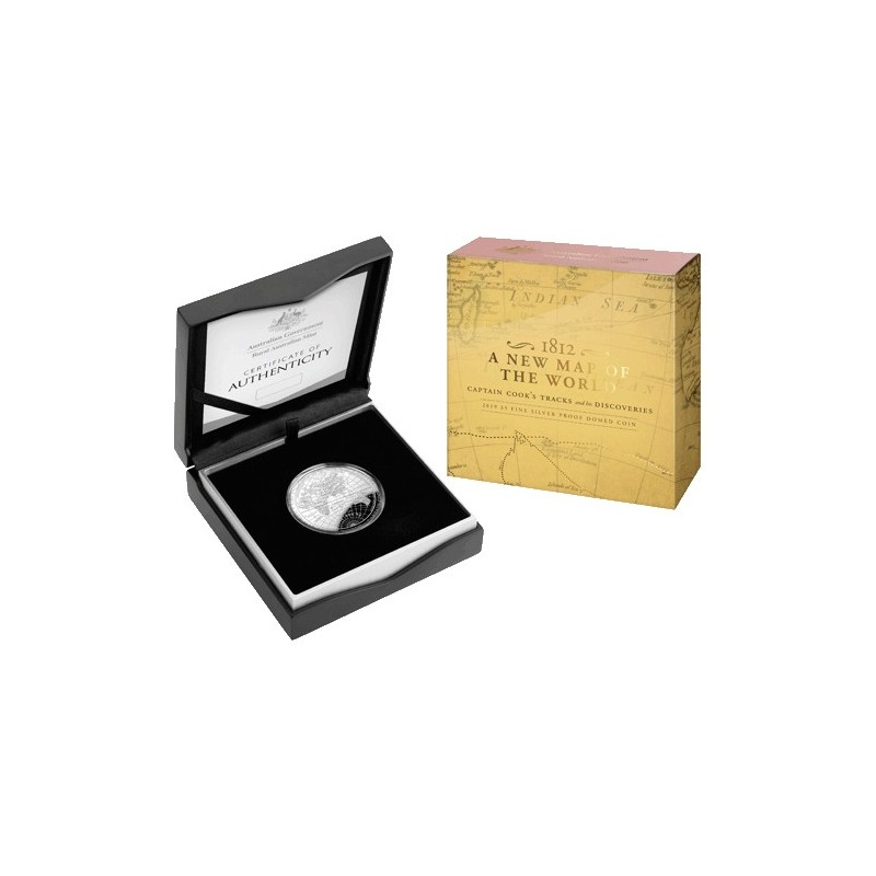 2019 $5 1812 A New Map of the World Fine Silver Proof Domed Coin