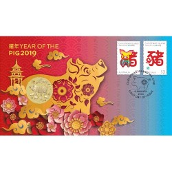 2019 $1 Year of the Pig Coin & Stamp Cover PNC
