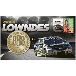 2018 Craig Lowndes 888 Supercars Legend  Medallion & Stamp Cover PNC