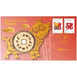 2019 Year of the Pig Medallion & Stamp Cover PNC