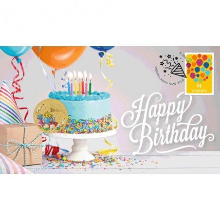 2019 $1 Happy Birthday Coin & Stamp Cover PNC