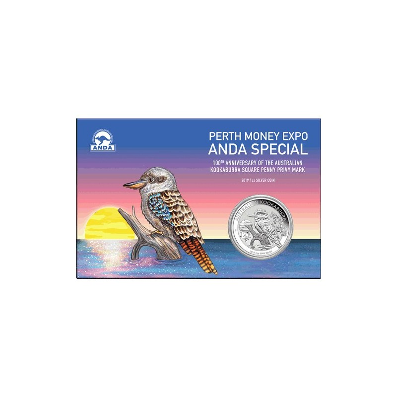 2019 $1 Perth Money Expo ANDA Special 100th Anniversary Kookaburra 1oz Silver Coin