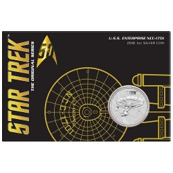 2016 $1 Star Trek - The Original Series USS Enterprise NCC-1701 Bullion Coin in Card