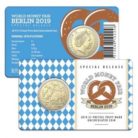 2019 $1 Berlin World Money Fair Mob of Roos Pretzel Privy Mark Al/Br Coin in Card
