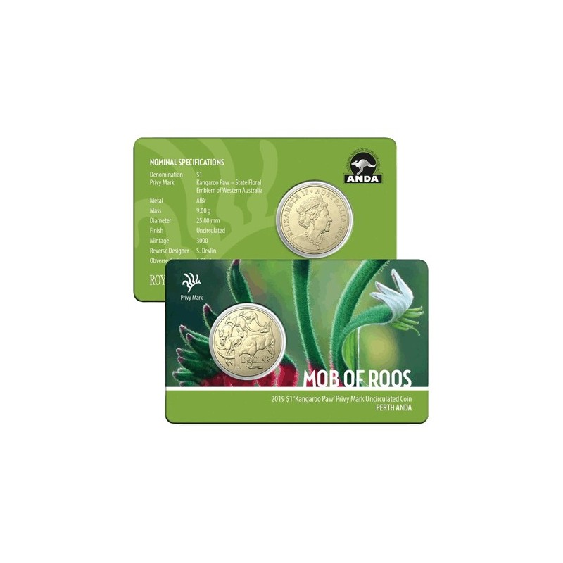 Kangaroo Paw Privy Mark $1 Dollar Coin 2019 Perth Money Expo ANDA Mob of Roos