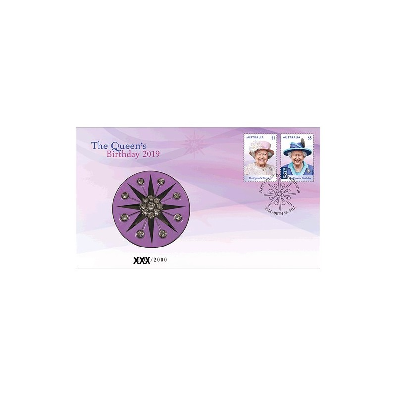 2019 H.M. Queen Elizabeth II Birthday Medallion & Stamp Cover PNC