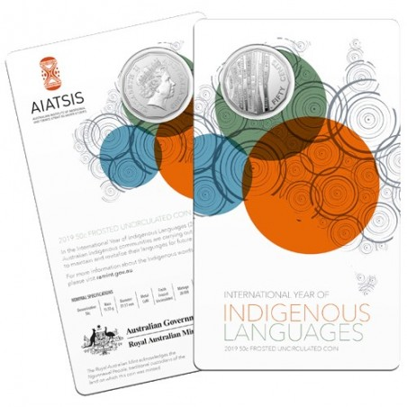 2019 50c International Year of Indigenous Languages Frosted Uncirculated Coin in RAM Card