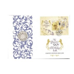 2016 £5 GB Queens 90th Birthday Prestige Coin & Stamp Cover PNC