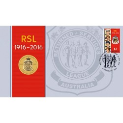 2016 $1 RSL Centenary Coin & Stamp Cover PNC